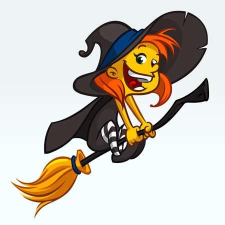 Lustiges Hexenfliegen der Karikatur recht auf ihrem Besen. Halloween-Vektorillustration lokalisiert auf Weiß Standard-Bild - 85472016