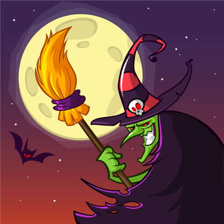 Cartoon witch with a broom. Halloween vector illustration isolated on scary night background with full moon.