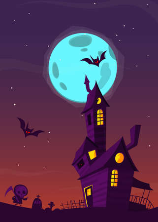 Spooky Old Haunted House With Ghosts Halloween Cartoon Background Vector Illustration Stock