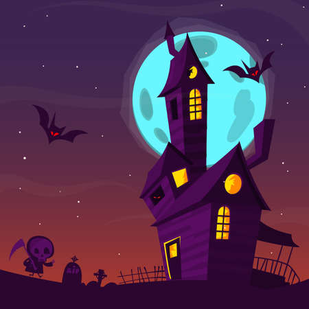 Spooky old haunted house with ghosts. Halloween cartoon background Vector illustration Ilustração