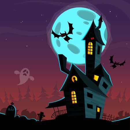 Casa infestata spaventoso dei cartoni animati. Illustrazione di sfondo vettoriale di Halloween