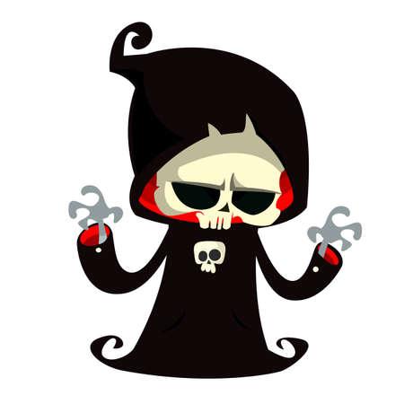 Grim reaper cartoon character in black hood.