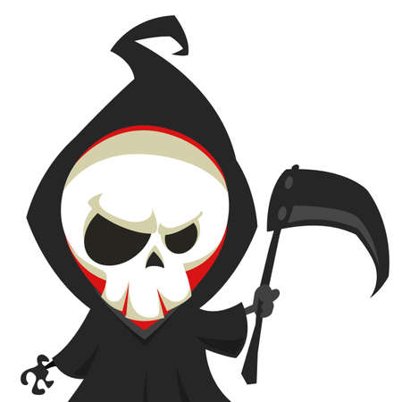 Cute cartoon grim reaper with scythe isolated on white Vector illustration Illustration