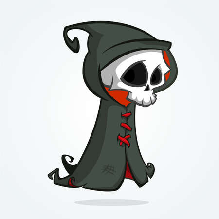 Cute cartoon grim reaper isolated on white. Cute Halloween skeleton death character icon