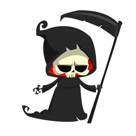 Cute cartoon grim reaper with scythe isolated on white Vector illustration Stock Illustratie