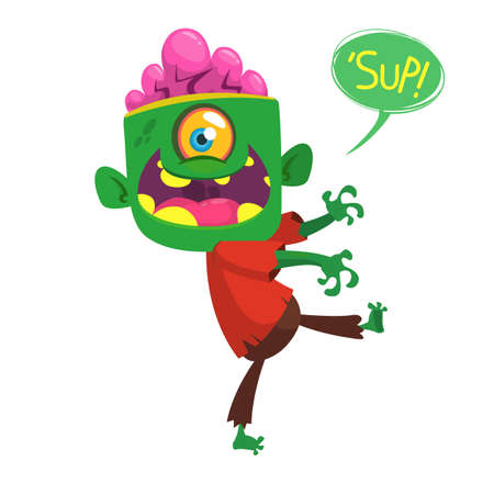 Vector cartoon image of a funny green zombie with big head and one eye in brown pants and red t-shirt walking to the right and laughing on a white background. Halloween vector illustration