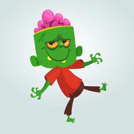 Cartoon funny green zombie with big head in brown pants and red t-shirt walking to the right and growling on a light gray background Vector illustration.