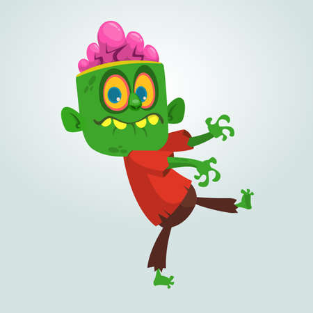 Vector cartoon image of a funny green zombie with big head in brown pants and red t-shirt walking to the right and smiling on a light gray background Vector illustration.