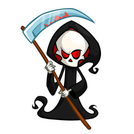 Grim reaper cartoon character with scythe isolated on a white background.