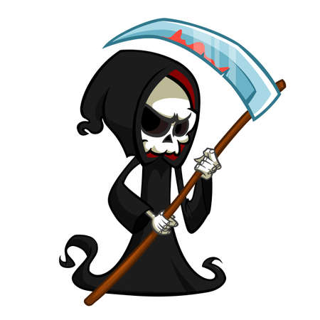 Cute cartoon grim reaper with scythe isolated on white.