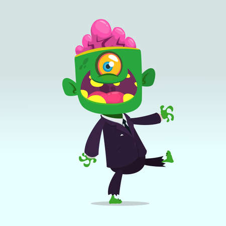 Vector cartoon funny green zombie with big head business suit isolated on a light gray background. Halloween vector illustration. Ilustração