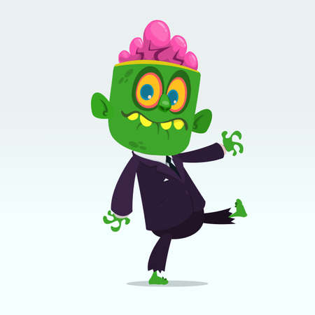 Vector cartoon funny green zombie with big head business suit isolated on a light gray background. Halloween vector illustration. Çizim