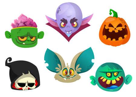 Halloween characters icon set. Cartoon heads of grim reaper, bat, pumpkin Jack o lntern, zombie, vampire. Vector isolated