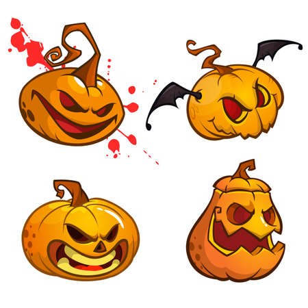 Calabazas De Halloween Curvadas Con Cara De Jack O Linterna ...