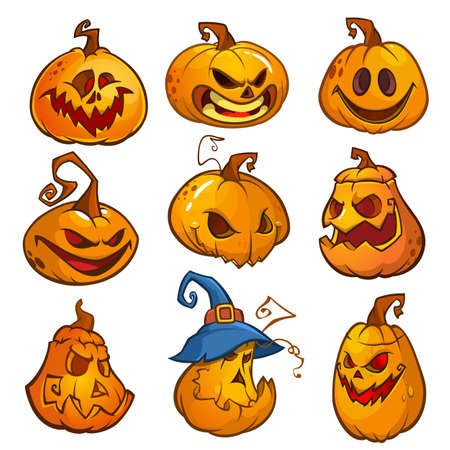 Big set of halloween pumpkins with Jack O`Lantern face, vector illustration