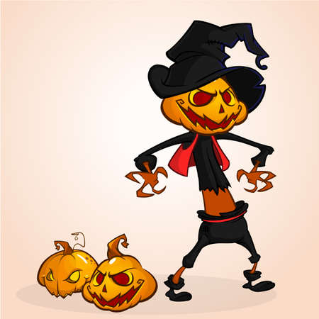 Vector cartoon image of Jack O Lantern with orange pumpkin head, in a dark coat and witch hat standing white background. Halloween. Vector illustration.