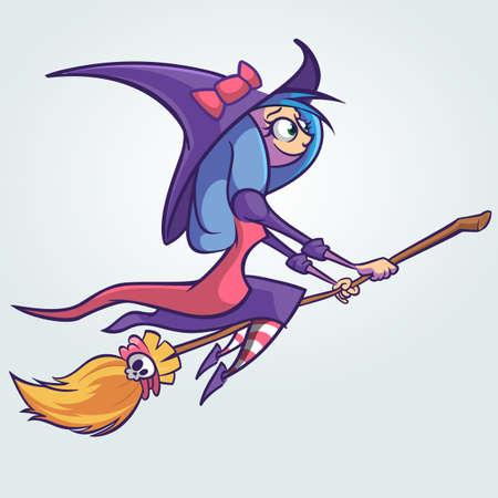 Bruja linda de Halloween que vuela en su escoba. Ilustración de dibujos animados de vector
