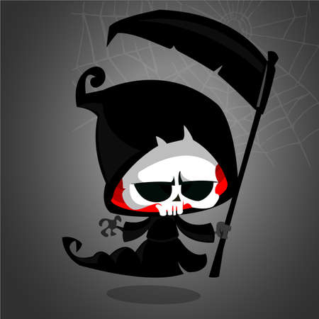 Grim reaper cartoon character with scythe isolated on a white background. Cute death character in black hood Illustration