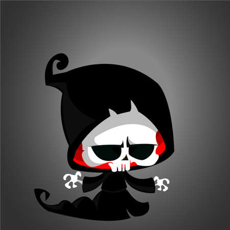 Vector illustration of cartoon death Halloween monster mascot isolated on dark background. Cute cartoon grim reaper 向量圖像
