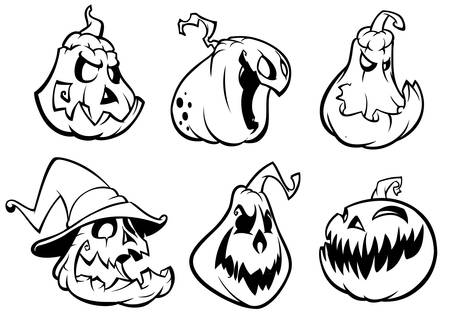 Halloween Pumpkins curved with jack o lantern face.  Vector cartoon illustration. Strokes and outlines Vettoriali