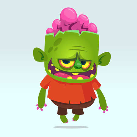 Cartoon funny green zombie. Halloween vector illustration of happy monster. Design for print, sticker, emblem, mascot , greetings invitation or party