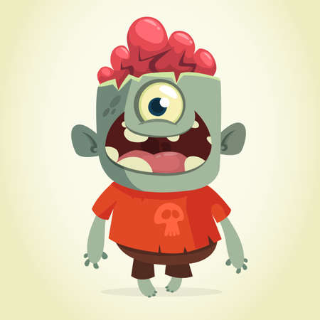 Vector cartoon image of a funny green zombie smiling on a light gray background. Halloween. Vector illustration.
