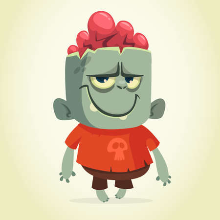 Vector cartoon image of a funny happy zombie smiling on a light gray background. Halloween. Vector illustration isolated. Illustration
