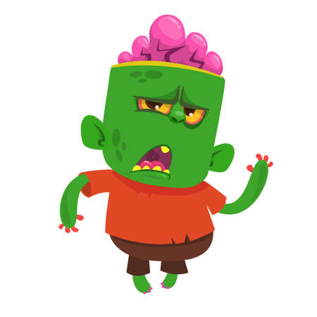 Vector cartoon image of a funny green zombie with big head in brown pants and red t-shirt walking to the right and smiling on a light gray background. Halloween. Vector illustration.