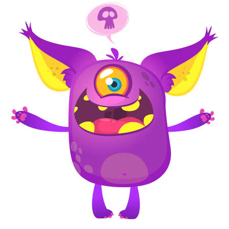 Cute cartoon violet horned and fluffy monster with one eye smiling. Halloween vector illustration