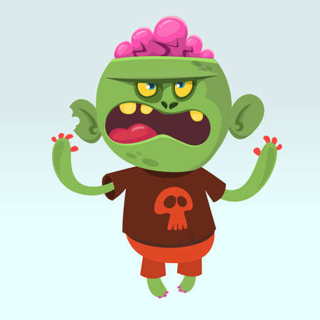 Cartoon angry cute  zombie wearing t-shirt with a skull. Halloween vector illustration of happy monster