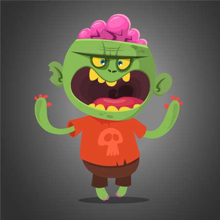 Cartoon vector cute  zombie. Halloween vector illustration of happy zombie isolated on dark background Illustration