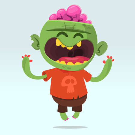 Cartoon funny zombie. Halloween vector illustration of happy monster