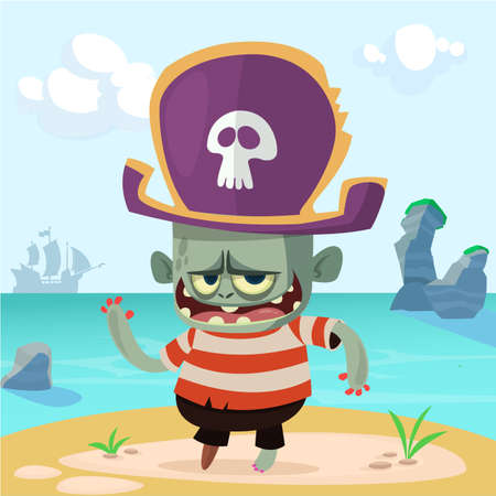 Vector illustration of Cartoon Pirate zombie. Halloween zombie mascot in pirate bicorne hat with skull emblem. Isolated on sea background with a ship and rocks Çizim