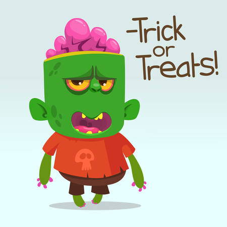 Cartoon angry zombie says thick or treats phrase. Halloween vector illustration of happy monster