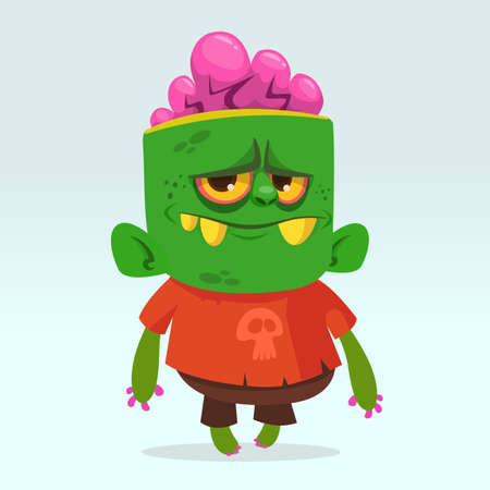 Cartoon angry cute  zombie. Halloween vector illustration of happy zombie for children book illustrations