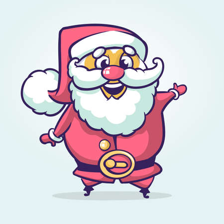 Funny cartoon Santa claus character pointing hand isolated white background. Vector Christmas illustration outlined