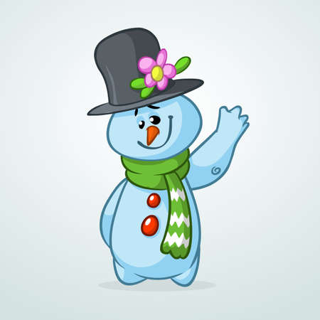 Funny cartoon snowman waving. Christmas snowman character  illustration isolated