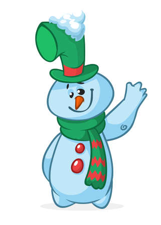 Funny cartoon snowman presenting. Christmas snowman character  illustration isolated
