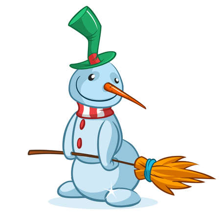 Funny cartoon snowman wearing hat and broom. Christmas snowman character illustration outlined and isolated