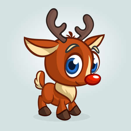 Funny cartoon red nose reindeer character.  Christmas vector illustration Illustration