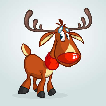 Happy cartoon red nose reindeer character wearing scarf.  Christmas vector illustration Illustration