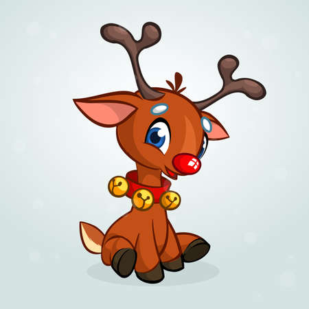 Funny cartoon red nose reindeer character wearing beells oh his neck and sitting  Christmas vector illustration