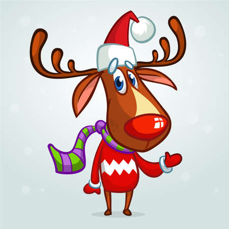 Christmas reindeer in Santa Claus hat and striped scarf pointing a hand. Vector illustration on snowy background Illustration