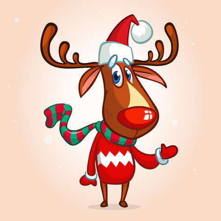 Christmas reindeer in Santa Claus hat and striped scarf pointing a hand. Vector illustration isolated