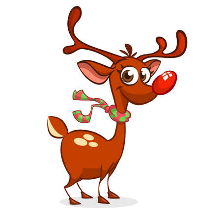 Funny cartoon red nose reindeer character wearing scarf.  Christmas vector illustration Illustration