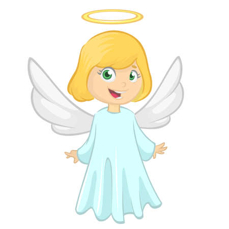 Cute Christmas girl angel character. Vector illustration isolated