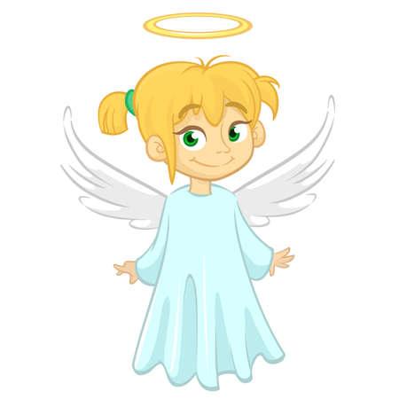 Cartoon angel. Vecor illustration of flying girl angel for Christmas holyday decoration. Design for print, poster, sticker, greeting card or invitation Ilustração