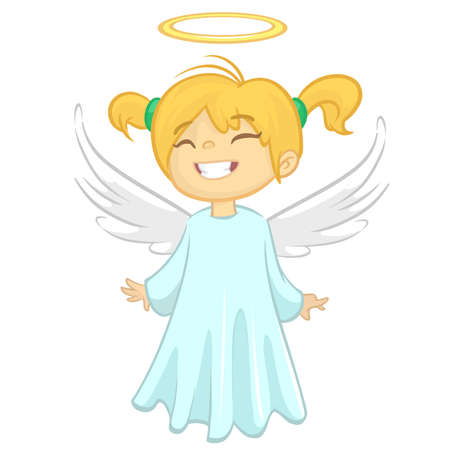 Cute happy girl angel character with white wings flying. Vector illustration isolated