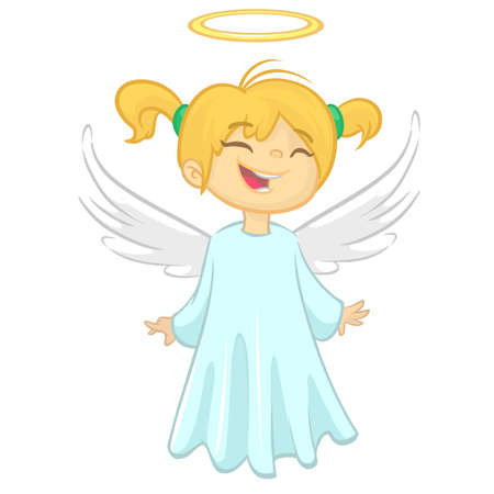 Cartoon angel. Vecor illustration of flying girl angel for Christmas holyday decoration. Design for print, poster, sticker, greeting card or invitation Çizim
