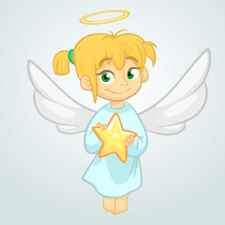 Cute Christmas angel holding a star. Vector illustration isolated 일러스트